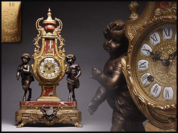 AX469 重厚 アンティーク ドイツ製(独逸)Germany FHS #130-070真鍮鍍金大理石置時計・