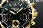 1円×3本 世界限定クロノグラフ腕時計BLACK×GOLD