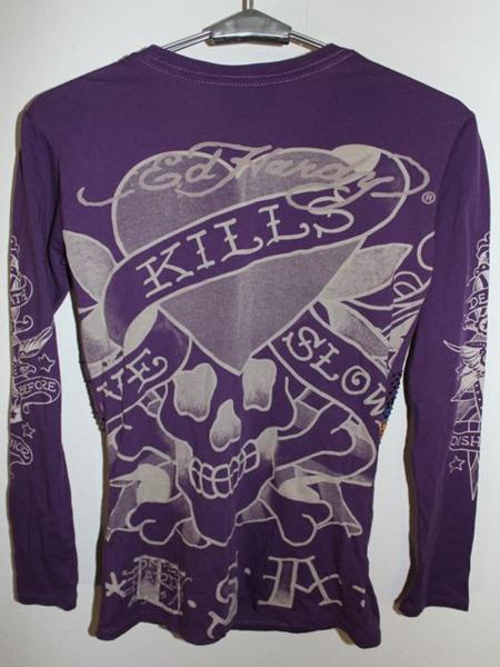 エドハーディー ED HARDY レディース長袖Tシャツ パープルXSサイズ ラブキル LOVE KILLS SLOWLY 新品_画像5