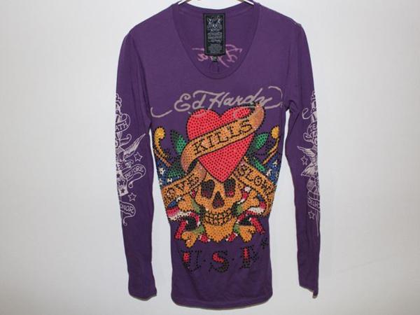 エドハーディー ED HARDY レディース長袖Tシャツ パープルXSサイズ ラブキル LOVE KILLS SLOWLY 新品_画像1