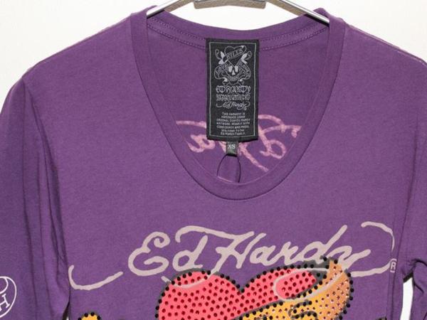 エドハーディー ED HARDY レディース長袖Tシャツ パープルXSサイズ ラブキル LOVE KILLS SLOWLY 新品_画像3