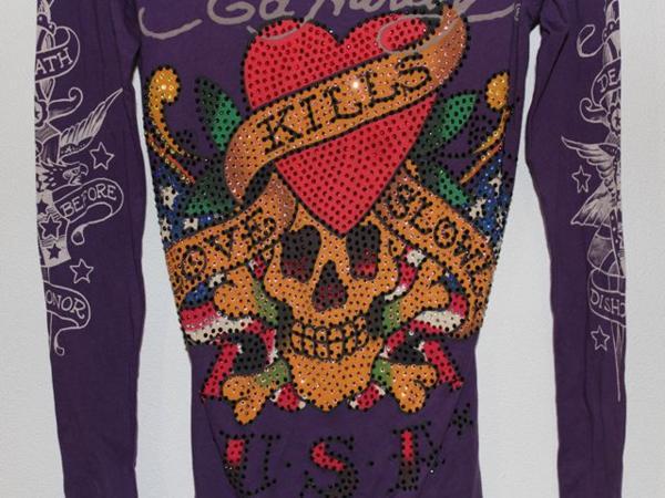 エドハーディー ED HARDY レディース長袖Tシャツ パープルXSサイズ ラブキル LOVE KILLS SLOWLY 新品_画像4
