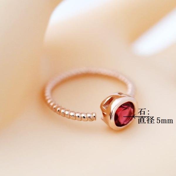 フリーサイズ  7月誕生石 ルビ風  ステンレス 指輪 リング_画像4