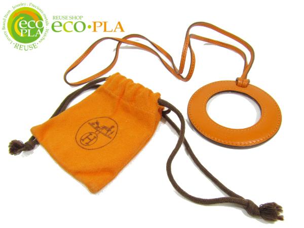 エルメス HERMES アクセサリー ルーペ レザー ペンダント 保存袋有 虫眼鏡 拡大鏡 ネックレス_画像1