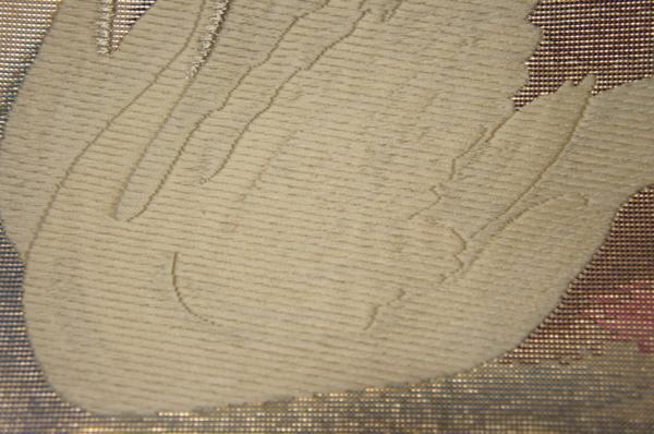 紫紘謹製鈴乃屋特選留柄青紫色金箔地白鳥模様袋帯[O9796]_鈴乃屋特選留柄青紫色金箔地白鳥模様袋帯