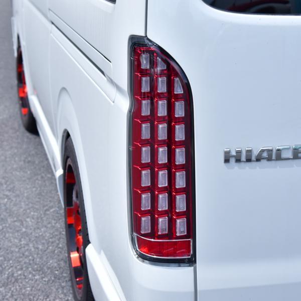200系 ハイエース 1型 2型 3型 4型 流れる ウィンカー フルLED ブロック テール ランプ クリア × レッド 左右 新品