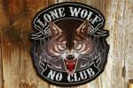 特大! ローンウルフ 刺繍 ワッペン ◆ 一匹狼 オオカミ