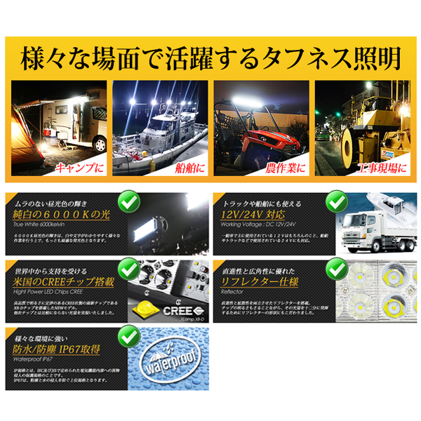 LED ワークライト 作業灯 CREE 216W 15120Lm 12V/24V対応送料無料_画像4