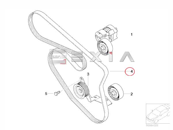 BMW E84 X1 18i ACコンプレッサー側 ファンベルト(Vベルト)_画像2