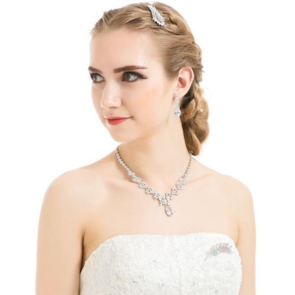 豪華 結婚式 パーティー ダイヤモンド 花  デザイン ネックレス_画像9
