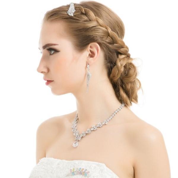 豪華 結婚式 パーティー ダイヤモンド 花  デザイン ネックレス_画像10