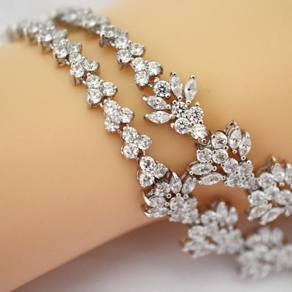 豪華 結婚式 パーティー ダイヤモンド 花  デザイン ネックレス_画像5