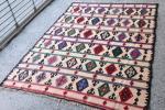宝石箱みたいな 手織りキリム トルコ産 192×141cm ラグ ビンテージ ネイティブ マジックカーペット インテリア ペルシャ絨毯FTKE6614