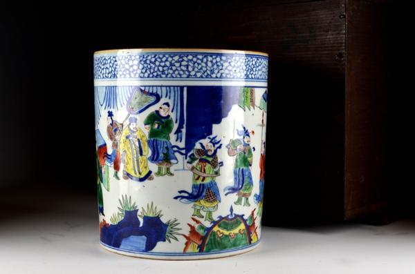 【壱 】清 康煕色絵大筆筒 中国古美術 c2101