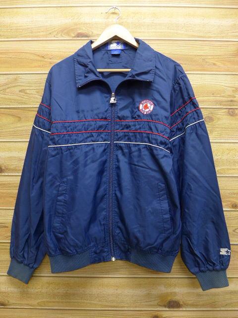 M★古着 中古 ナイロン ジャケット 90年代 スターター MLB ボストンレッドソックス 紺 17feb22 グッズの画像