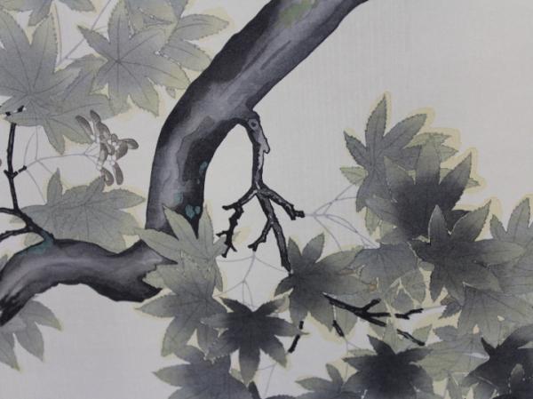 〔楽布特選〕96177   叭叭鳥図 横山大観 リトグラフ木版画  茶道具・器  bwy_画像4