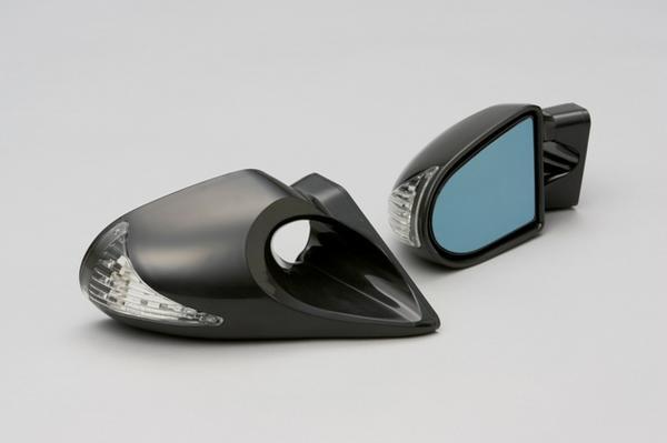 ミラ ジーノ L700 L710 LEDウインカー付 エアロミラー カーボン? ブラック メッキ K6_画像2