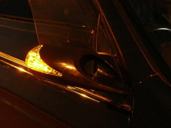 ミラ ジーノ L700 L710 LEDウインカー付 エアロミラー カーボン? ブラック メッキ K6_画像3