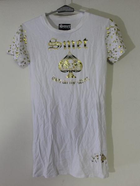 スメット SMET レディース半袖チュニックTシャツ ホワイト Sサイズ 新品 白_画像1