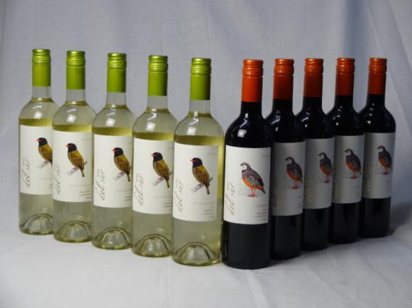 チリ白赤ワイン10本セット デル・スール カルメネール ミデ_画像1