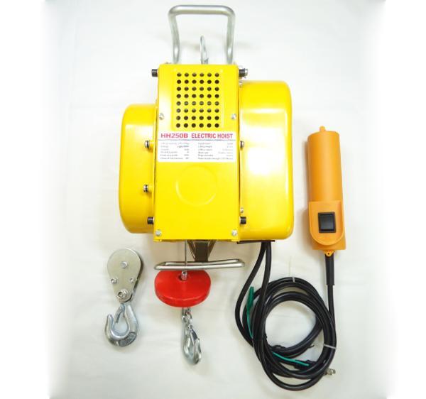電動ウインチ 強力小型ホイスト 家庭用100V対応 60Hz 最大能力250kg 出張先や現場ですぐに使える移動式 吊り下げタイプ 【60日安心保証付】_画像5