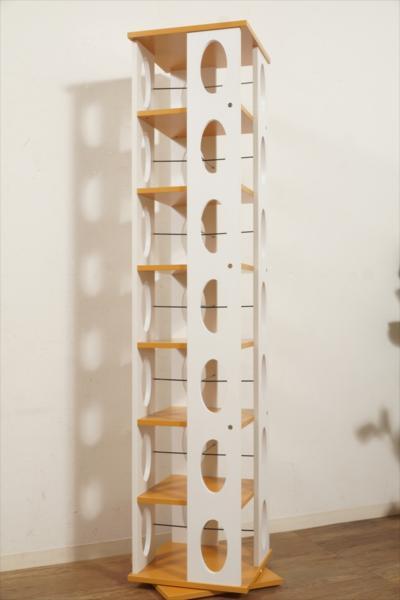 ◇アウトレット家具 タワー型360度回転収納 本棚 7段 マガジンラック CDラック DVDラック ブックラック F-1464