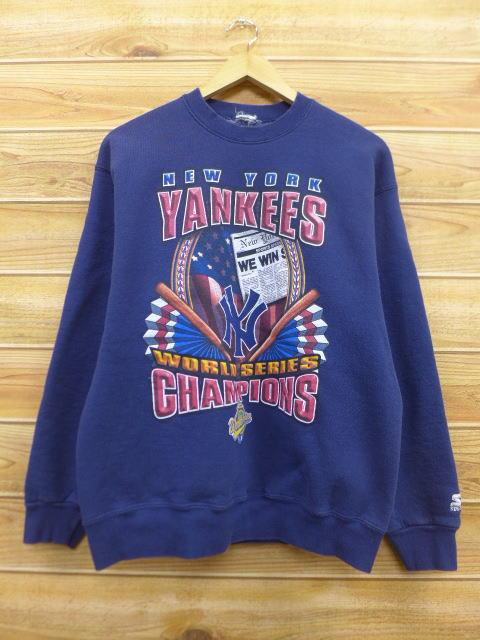 M★古着 中古 スウェット 90年代 スターター MLB ニューヨークヤンキース 紺 17mar20 グッズの画像