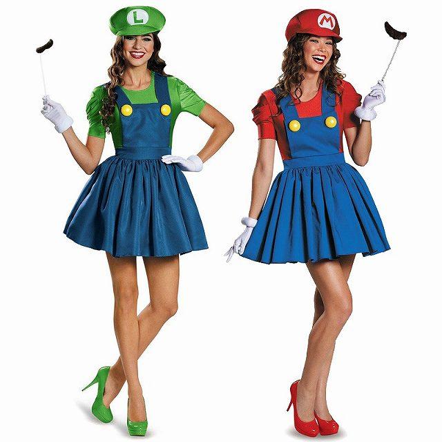 パニエ内蔵スーパーマリオ ルイージコスプレ衣装 ハロウィン 赤M グッズの画像
