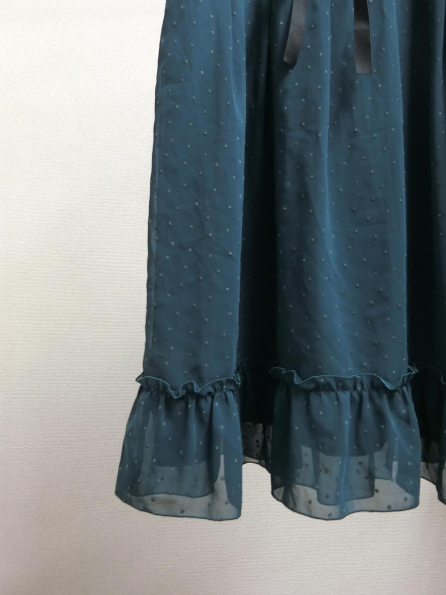 OLIVE des OLIVE シフォン シースルー 刺繍 ドット リボン ギャザー ワンピース グリーン 緑 日本製 レディース WC1806-754_画像2