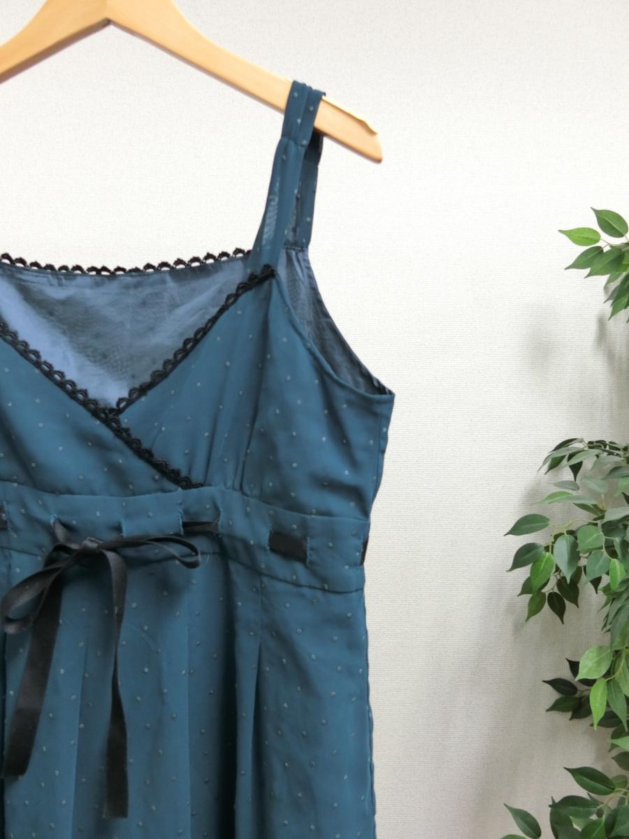 OLIVE des OLIVE シフォン シースルー 刺繍 ドット リボン ギャザー ワンピース グリーン 緑 日本製 レディース WC1806-754_画像3