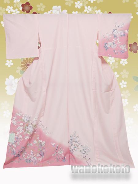 【和の志】洗える着物◇付下・単衣○L◇ピンク系・芍薬柄◇253