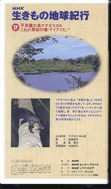 NHKビデオ「生きもの地球紀行■17 不思議の島 マダガスカル ~これが原始の猿・アイアイだ!~」_画像2