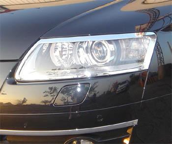 アウディ AUDI メッキ ヘッドライト ヘッドランプ リング リム A6 04~08y_画像1