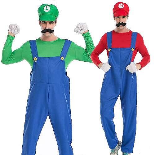 メンズ スーパーマリオ ルイージコスプレ衣装 ハロウィン 緑M~L グッズの画像