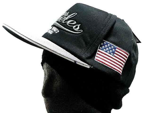HP つばステッチ英字刺繍&アメリカ国旗 ブラック CAP 帽子 T_画像4
