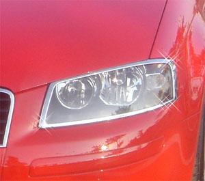 アウディ メッキヘッドライトリング A3 03~ ランプ ライト リング リム カバー テール_画像1