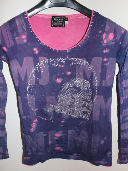 アイコニック ICONIC マイケルジャクソン レディース長袖Tシャツ パープル Mサイズ 新品_画像2