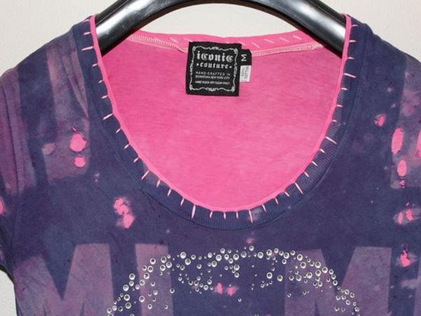 アイコニック ICONIC マイケルジャクソン レディース長袖Tシャツ パープル Mサイズ 新品_画像3