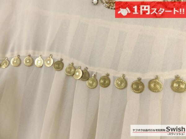 A373●JILLSTUART ジルスチュアート●装飾 シフォン トップス ベージュ●_画像3
