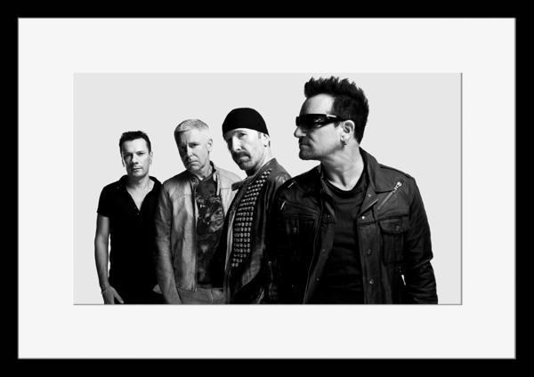 BW:人気ロックバンド!ユートゥー/U2/モノクロ写真フレーム-1
