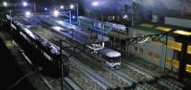 【SAZAN】鉄道ジオラマ展示台(セクション)※架線柱ヤード灯つき電車区機関区 90x30cm★小5