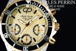 1円×3本 世界限定クロノグラフ美しすぎるGOLD腕時計