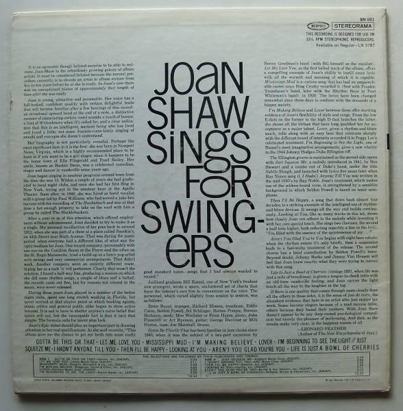 ◆ JOAN SHAW Sings For Swingers / SALENA JONES ◆ Epic ◆_画像2