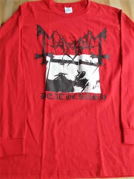 MAYHEM 長袖Tシャツ deathcrush 赤M / black metal morbid ロンT