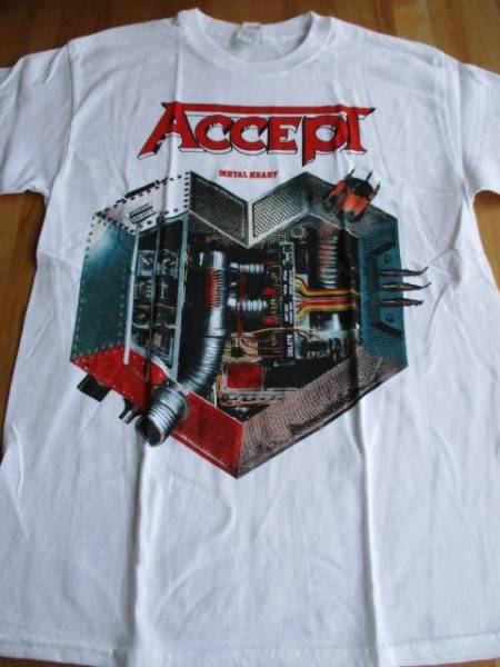 ACCEPT Tシャツ metal heart 白M / judas priest iron maiden