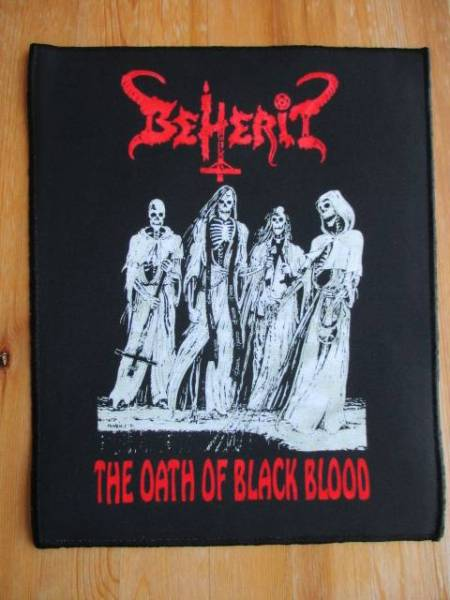 BEHERIT プリントバックパッチ ワッペン the oath of black / blasphemy von sarcofago mayhem morbid