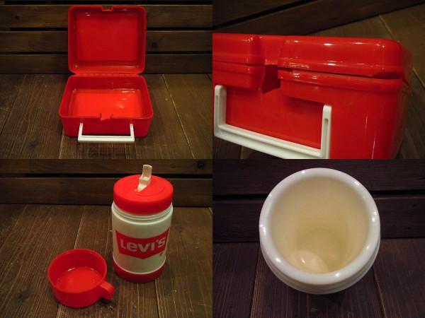 ビンテージ70's★Levi'sランチボックス&水筒★リーバイス60's80sアドバタイジングアウトドアキャンプ_画像3
