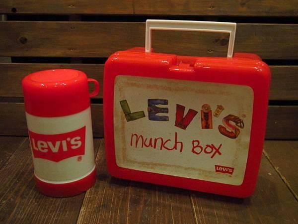 ビンテージ70's★Levi'sランチボックス&水筒★リーバイス60's80sアドバタイジングアウトドアキャンプ_画像1