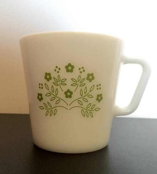 オールドパイレックス OLD PYREX マグカップ 緑花柄_画像1