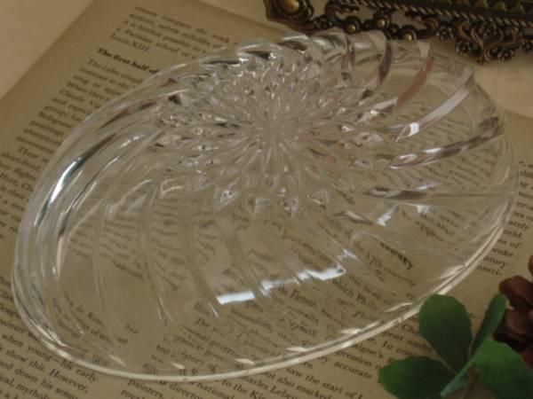 古いガラス製のデザートフルーツ皿*サラダ*プリンアラモード楕円_画像3